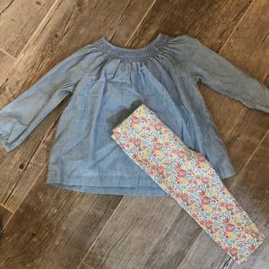 Ralph Lauren smocked top and floral leggings